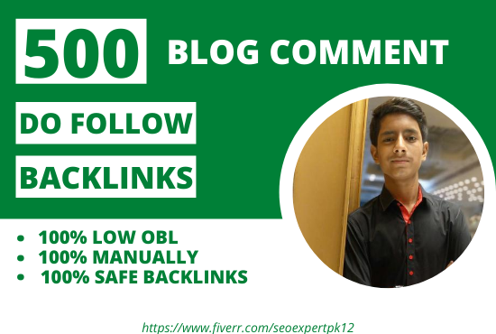 I will provide 500 manually low obl blog comment backlinks
