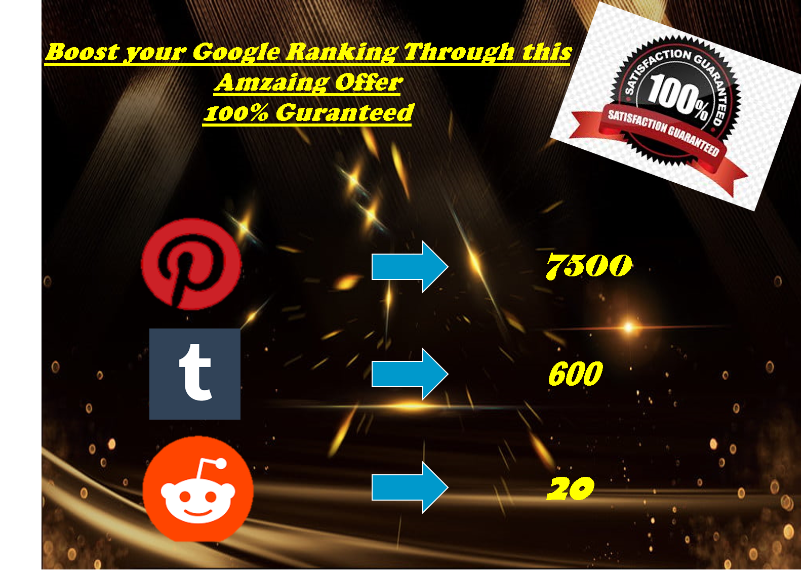 Boost Social Signals with 7k pinterest+600 Tumblr+20 Reddit