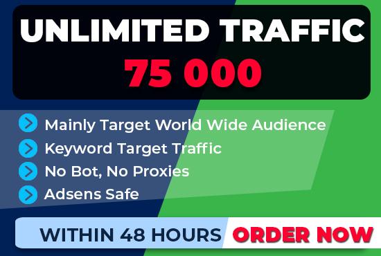 boost 75,000 SEO keyword target website traffic, real visitors