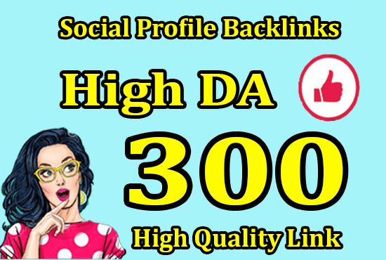 I will do 300 social media profiles for high da pr SEO backlinks