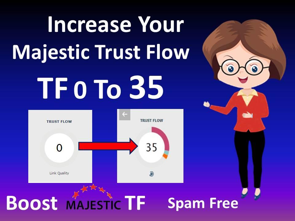 i'll increase majestic tf 35 plus guaranteed in 2 weeks