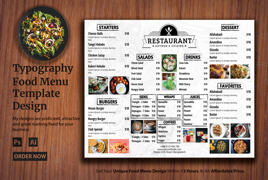 I will design delicious restaurant menu for you within 19 hours