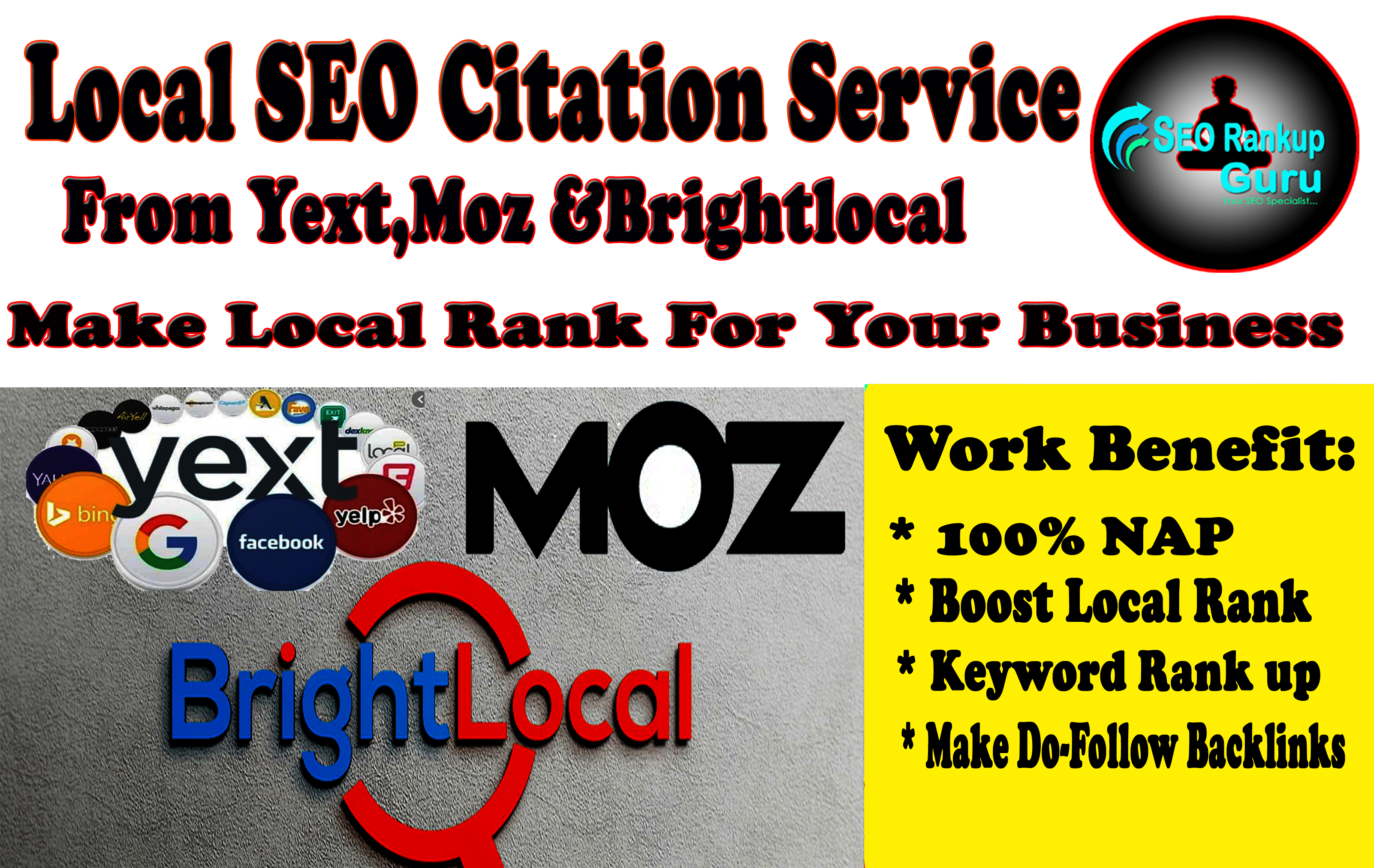 I Will Do Top 30 Local SEO Citation From Yext, Moz And Brightlocal List