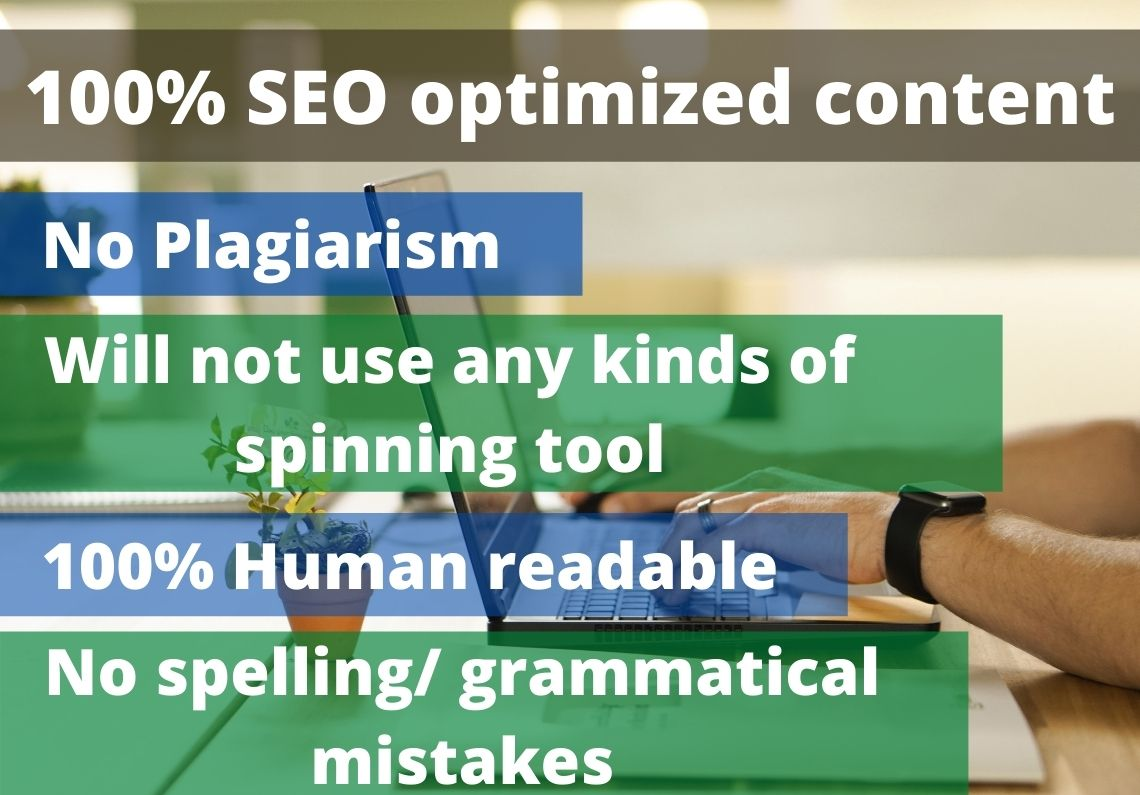 SEO optimized 750-1000 words long article writing