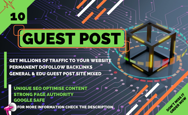 I will Publish 10 High DA Dofollow Guest Post & all links will be permanent
