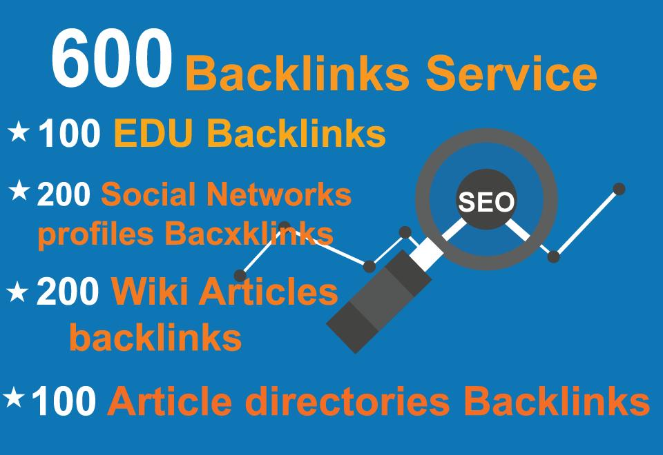 Unique 100 EDU,  200 Social Networks profiles,  200 Wiki articles,  100 Article directories Backlinks