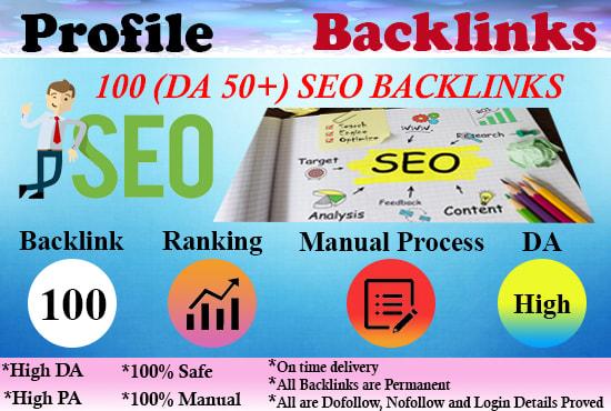 I Will Create 100 High DA 50+ Profile Backlinks