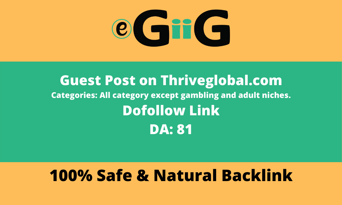 Write And Publish On Thriveglobal Dofollow Backlink