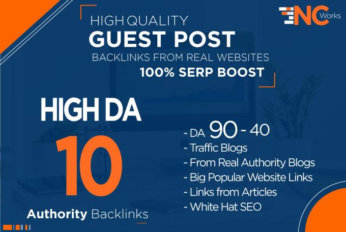 I will create 10 quality SEO authority high da guest post backlinks