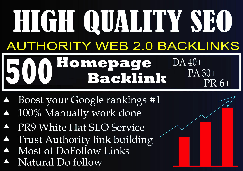 I Will Provide DA50+ PA40+ DR50+500 Homepage web2.0 Backlink Permanent Dofollow With unique website