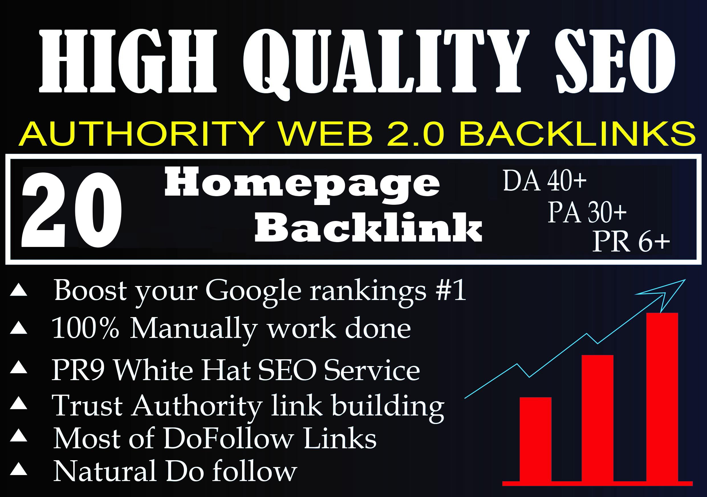 I Will Provide DA 40+ PA 30+ PR 6+ Web2.0 20 homepage Backlink in 100 do-follow in unique site
