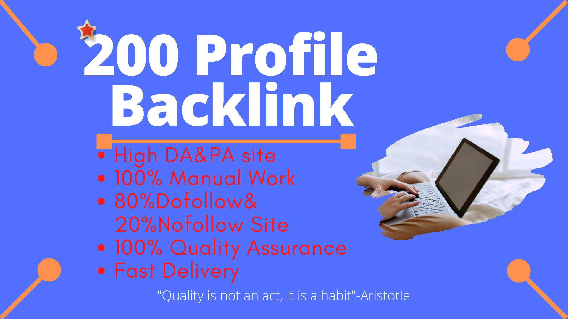 I Will Create Manually 200 Profile Backlinks on High DA & PA sites