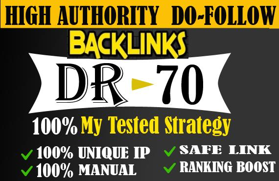 I will create provide DR 50 to 70 backlinks off page seo