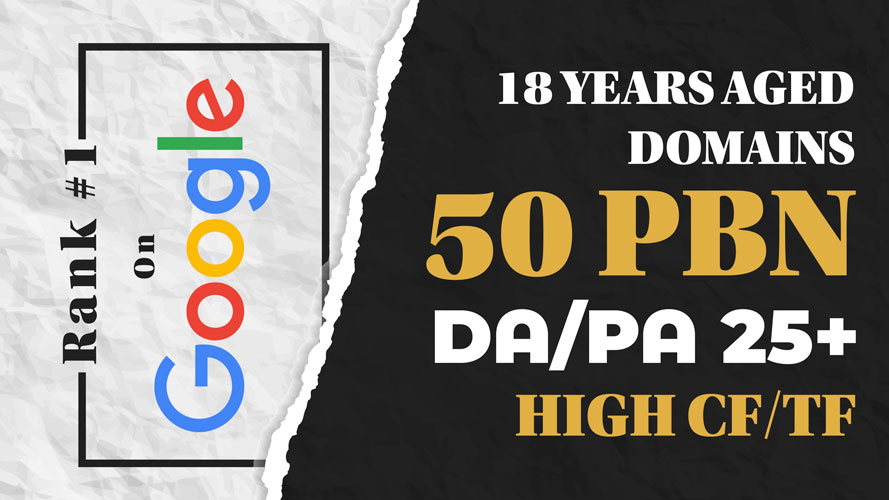 50 High DA/PA PBN Backlinks To Rank 1 Fast