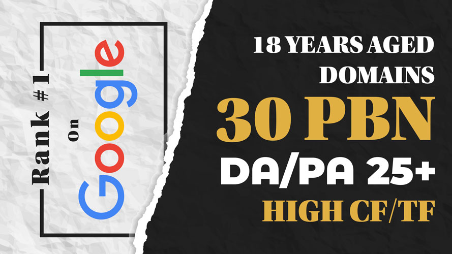 30 High DA/PA PBN Backlinks To Rank 1 Fast