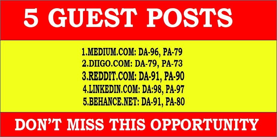 Publish 5 guest post high DA 90+ site