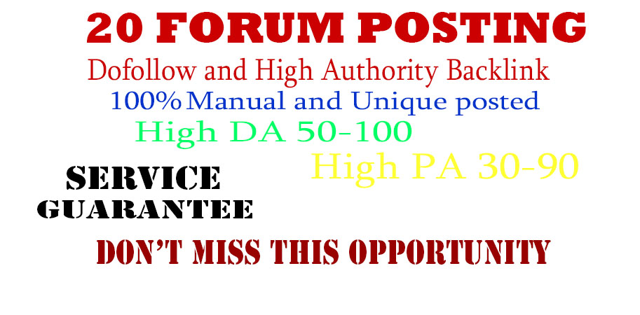 20 Forum posting back-link and high DA 45+