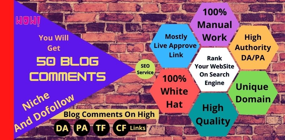HQ 50 Blog comments with whait hat backlinks service