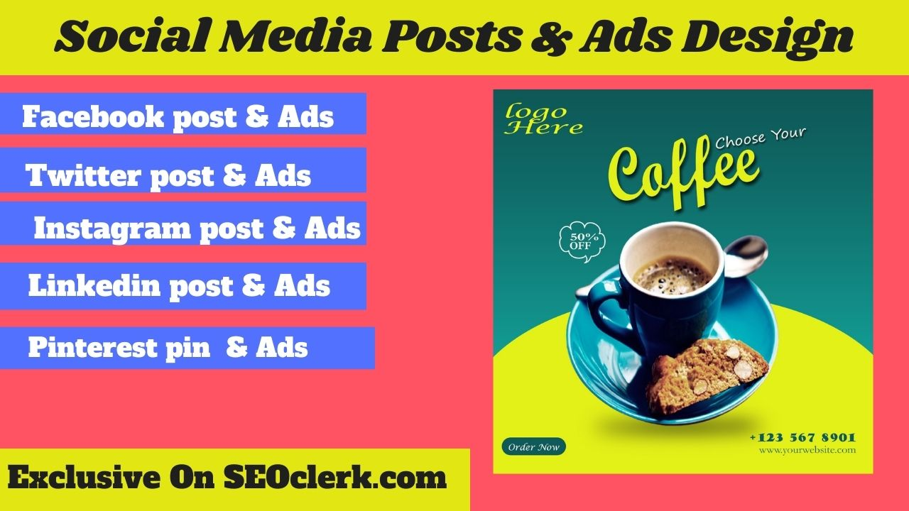 I will design social media posts & ads Facebook ads any web banner
