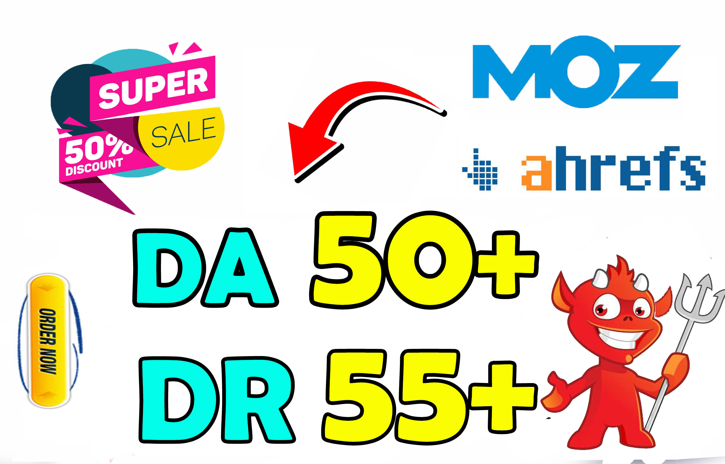 I'll increase your website domain authority Da 50+ ahref Domain rating Dr 55+ for 50