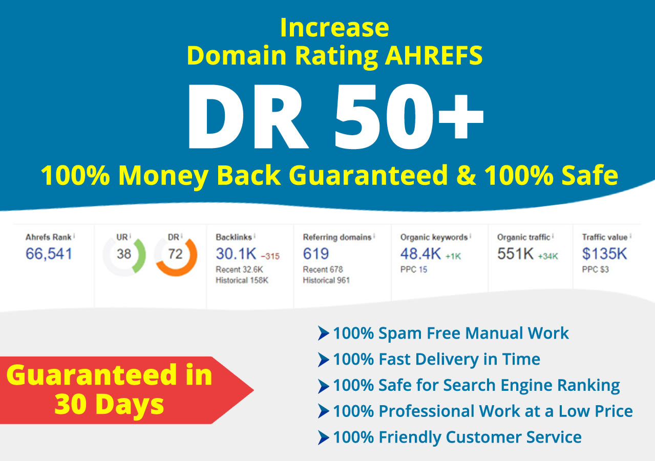 Increase ahref dr 50 plus with high authority backlinks Guaranteed