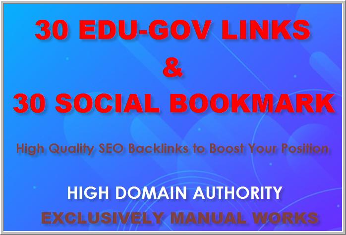 Manual Link Building Services Get 30 Edu& Gov and 30 Social Bookmarking Backlinks best for your SEO
