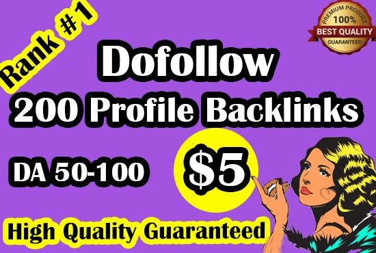 I will do 200 high da profile backlinks manually for ranking no. page of google