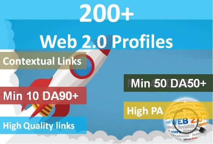 I will do 100 high authority web 2 0 profile backlinks with high da links