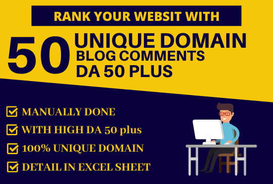 do 50 dofollow backlinks blog comments with high da 50 plus