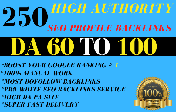 I will create pr9 250 high authority dofollow profile backlinks
