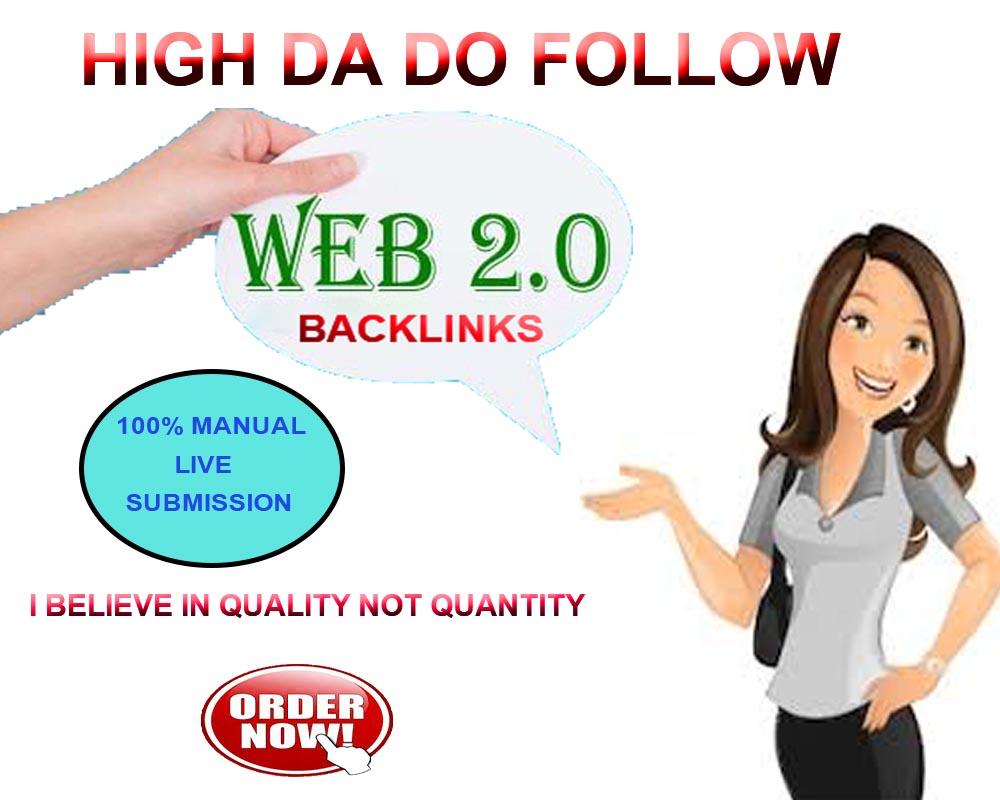 I will create 30 HQ DA Do Follow Web2.0 Backlinks