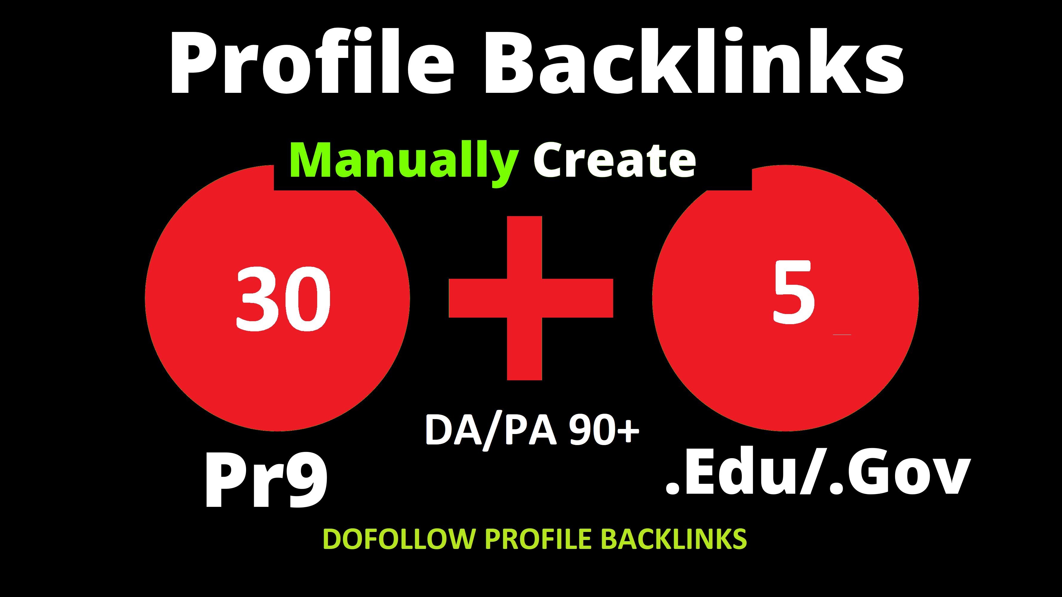I will Create Manually 30 Pr9 + 5 Edu/Gov Dofollow DA 90+ SEO profile backlinks for website
