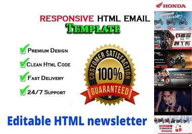 I will design responsive HTML email template or newsletter
