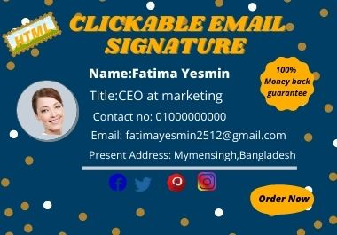I will create 1 professional clickable HTML mail signature