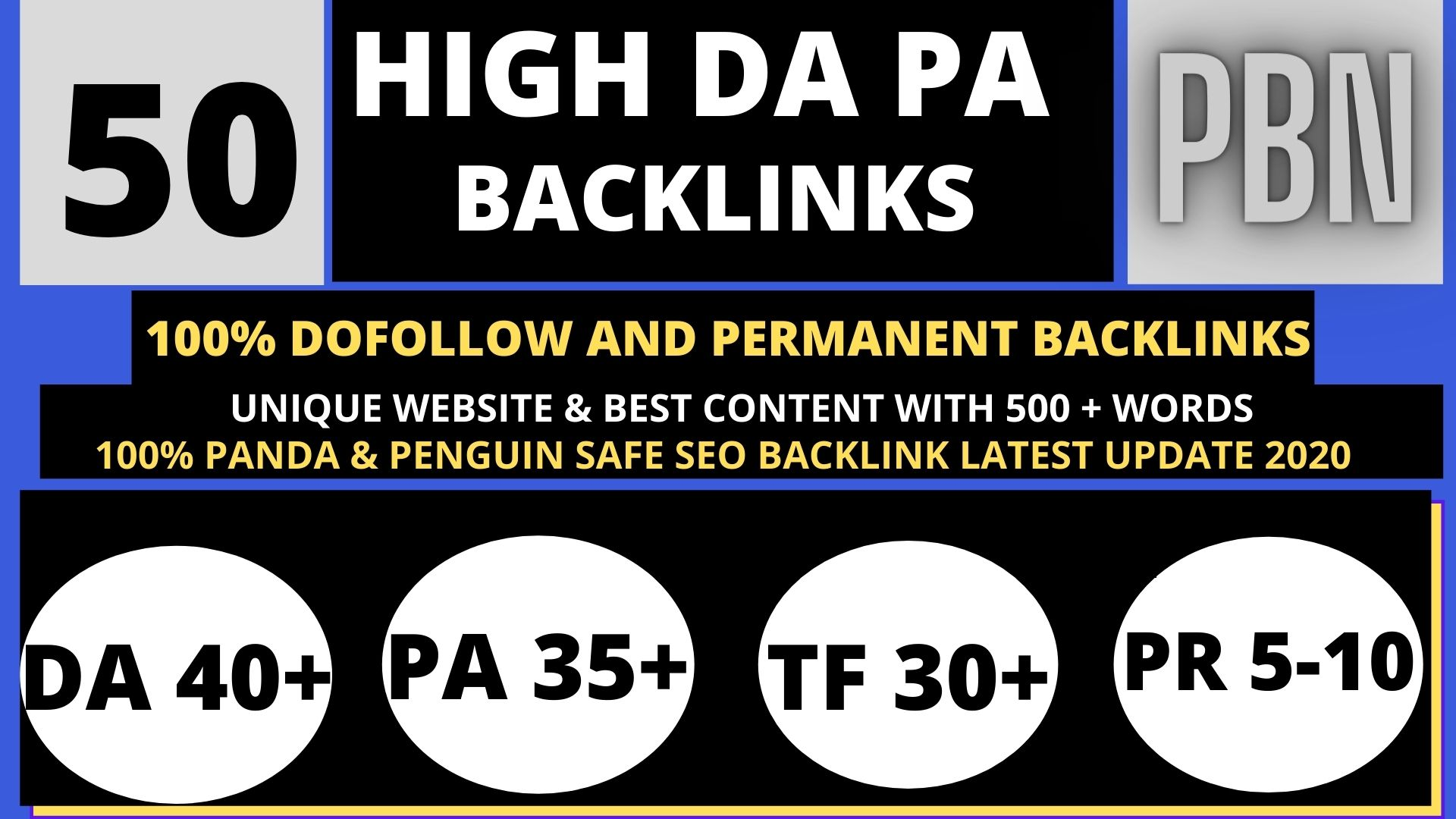 Manually create 50+ Backlink with high DA 40+ PA 35+,  DOFOLLOW with 40+ Unique websitelink
