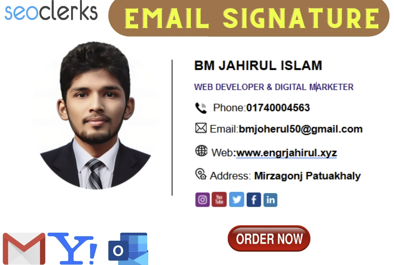 I will create professional looks clickable HTML email signature