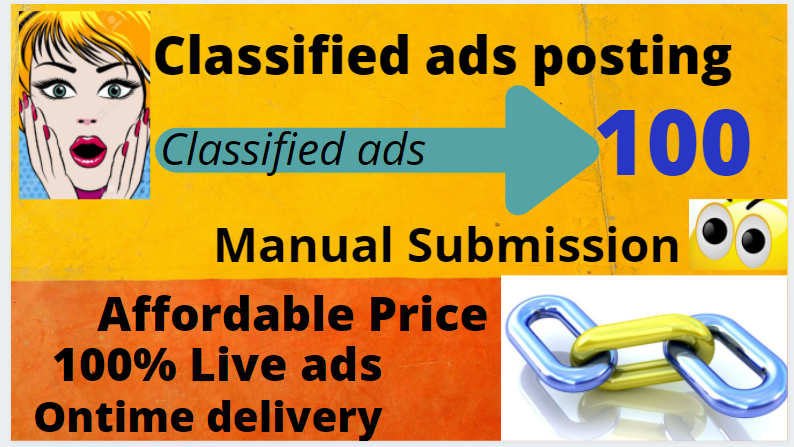 I will do manual Classified ads post with 100 High authority sites