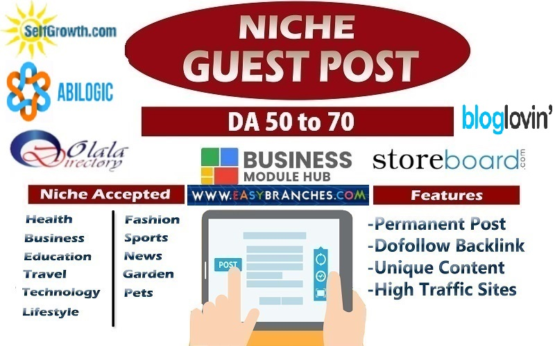 10 high authority guest post DA 50 to 70 high traffic sites