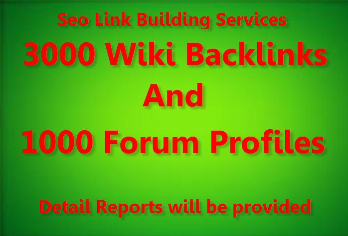 Get 3000 Wiki Backlinks with 1000 Forum Profile backlinks