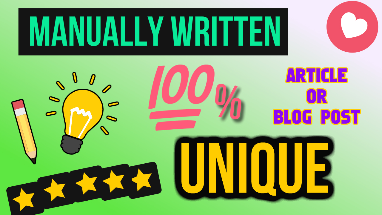 Write Unique 500 Word Article Or Blog Post Web Content Manually