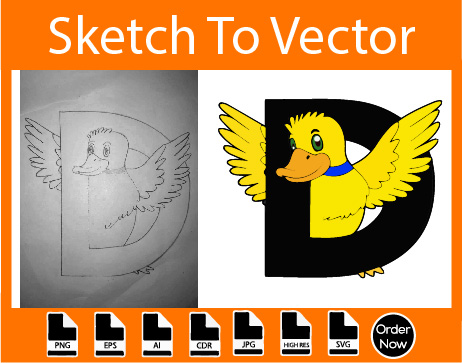 I will change your any sketch into vector using adobe illustrator