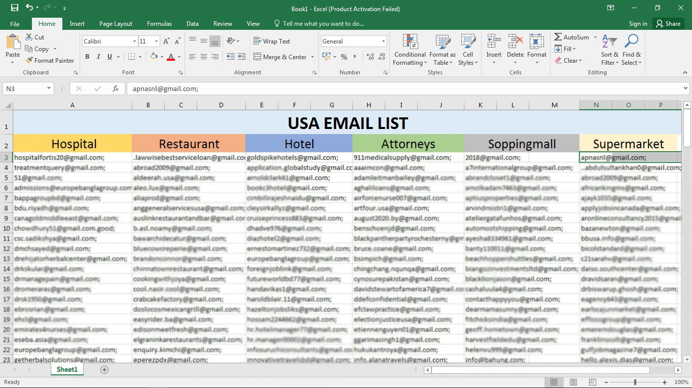 5K valid Email List for Marketing