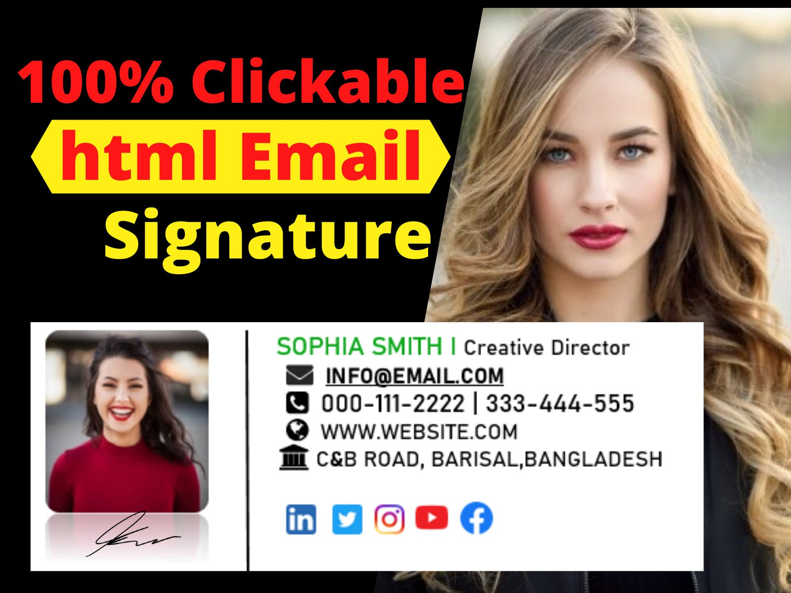 I will design a professional clickable HTML email signature