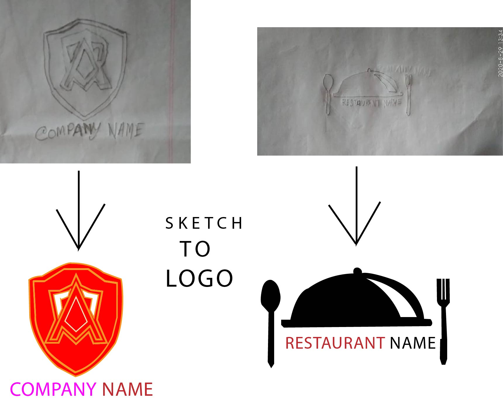 I will create professional logo from sketch or without Sketch