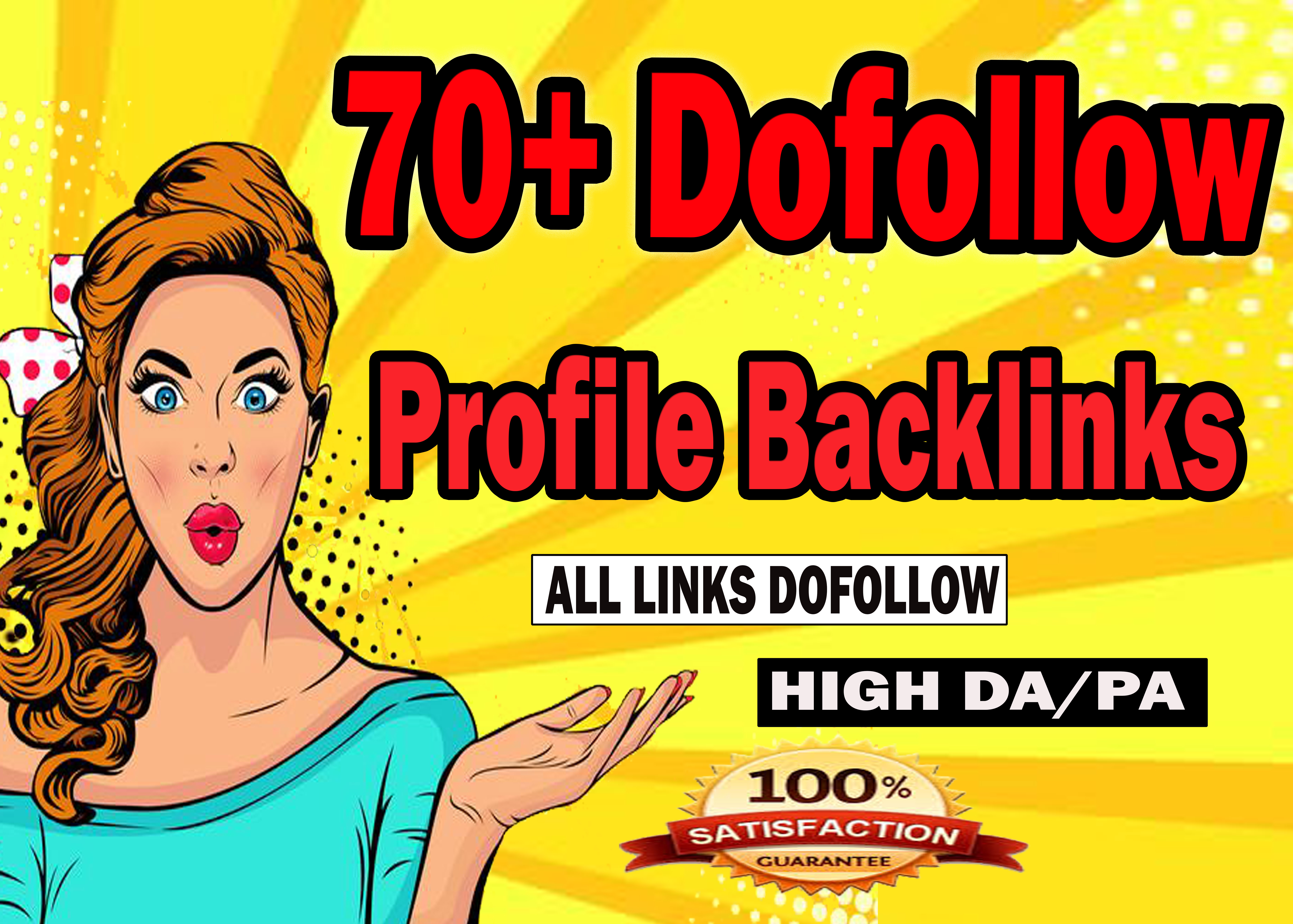 Do 70 high DA profile backlinks manually Links building for website ranking