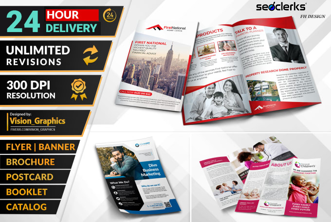 I will design business flyer,  leaflet,  trifold brochure,  postcard, poster and banner
