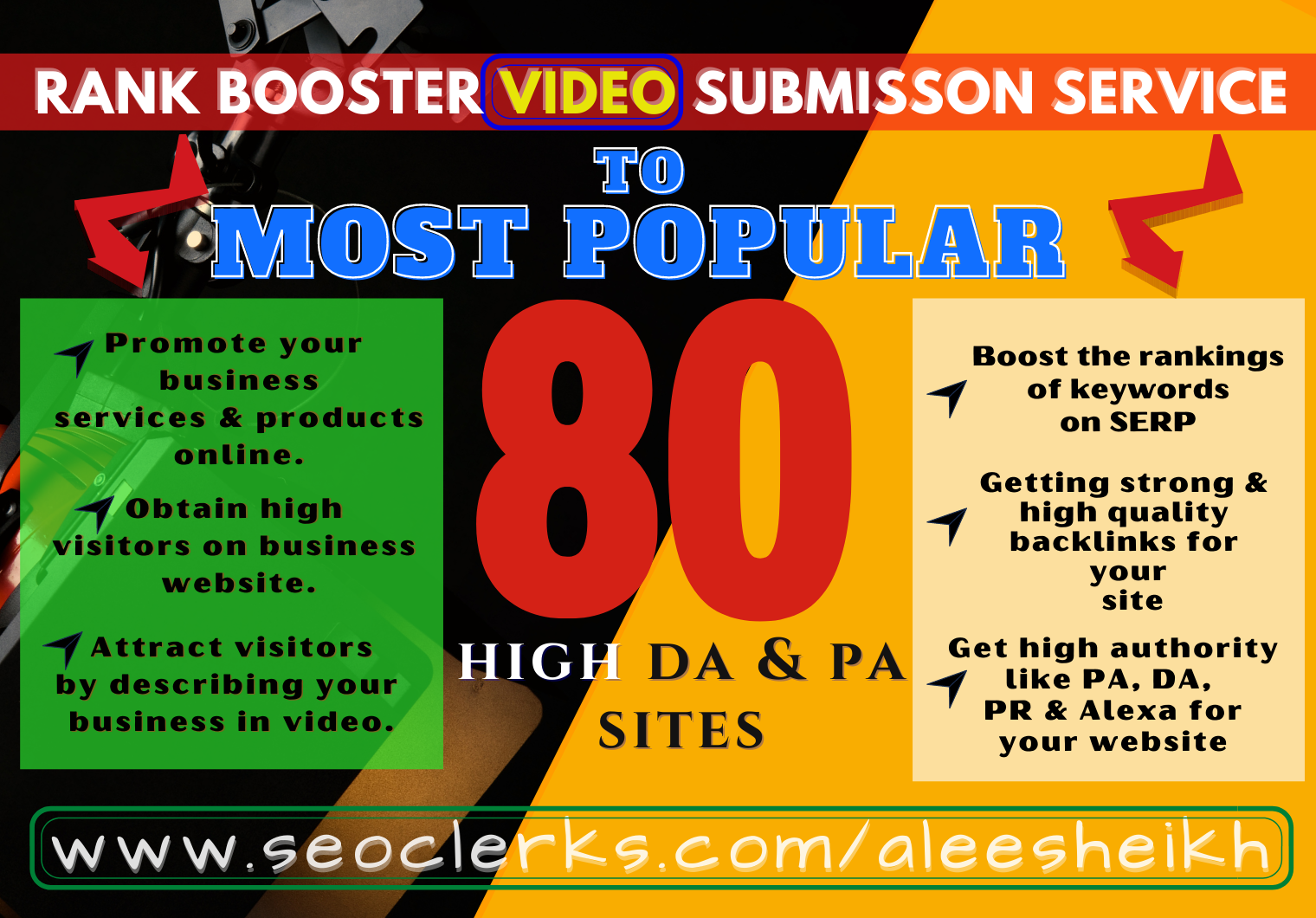 Manual video submission to 80 high DA & PA video sharing sites