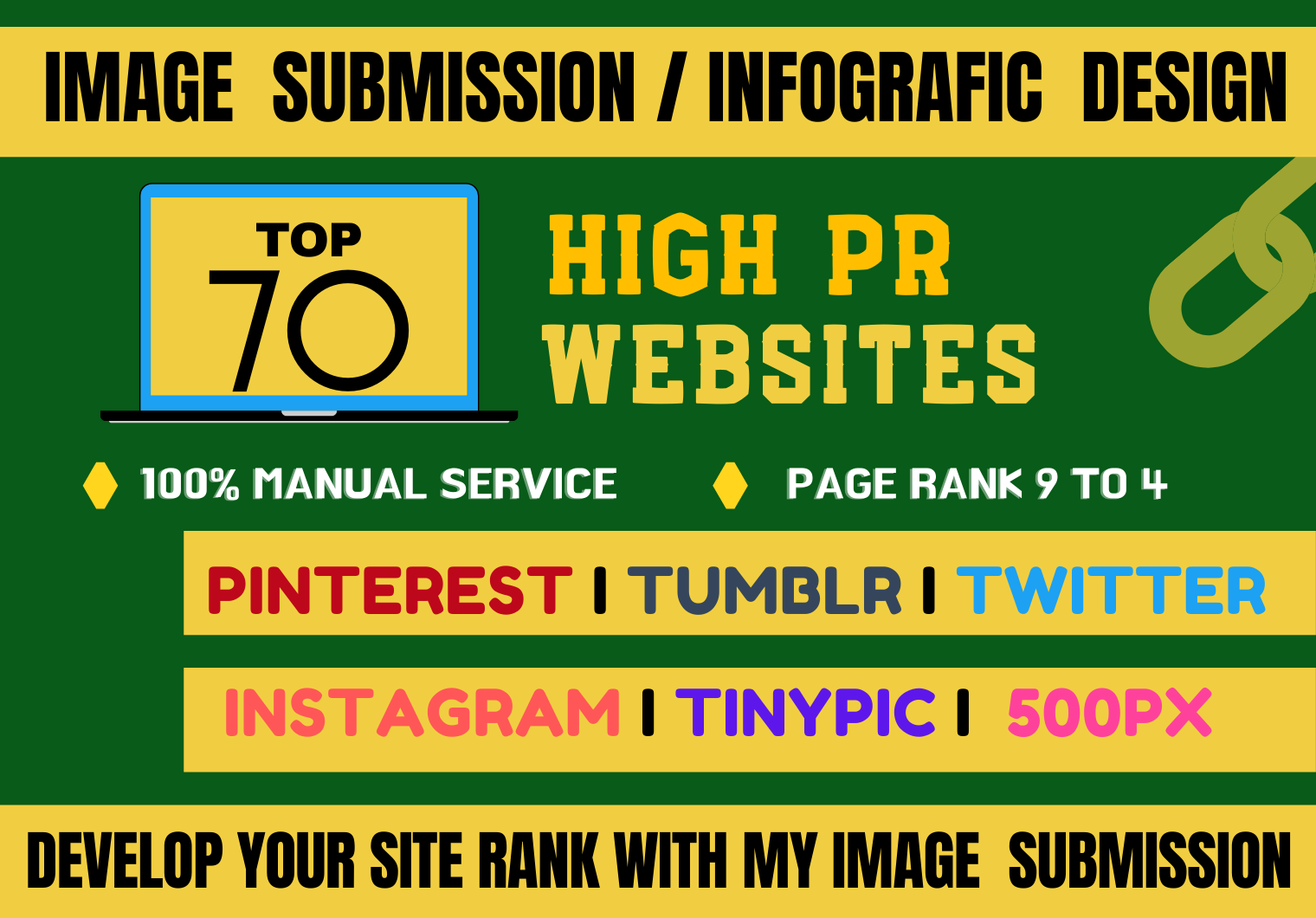 I will do manual infographic or image submission in top 70 high DA & PA sharing sites