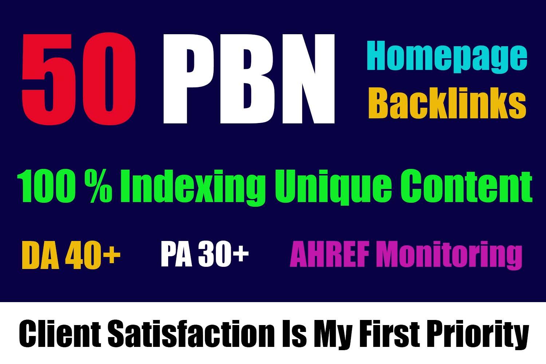 50 Powerful Homepage Do follow PBN Links DA PA 30 PLUS and 400 2nd Tire Backlink
