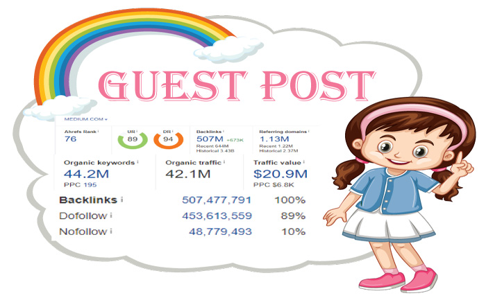 I will do high da guest post on medium.com. 500+ word per content .